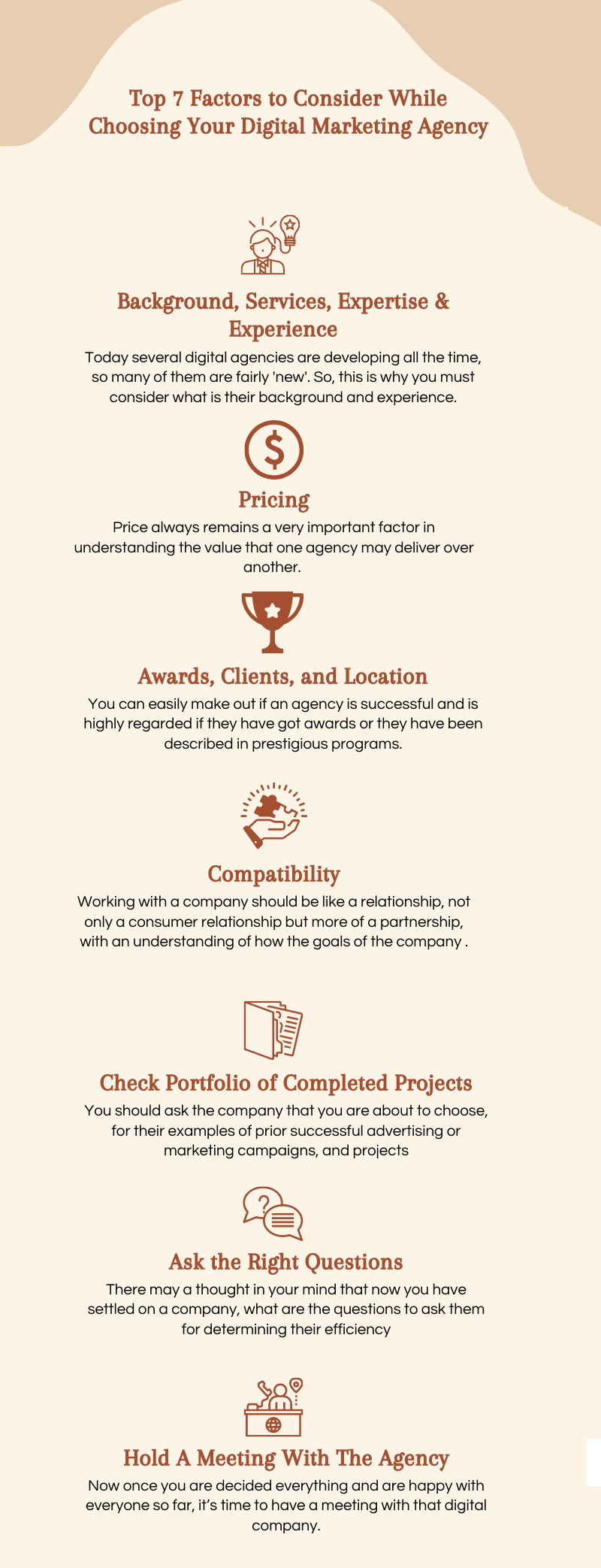 Top 7 Factors to Consider While Choosing Your Digital Marketing Agency infographic