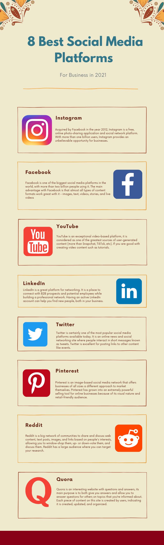 social media platform for business infographic